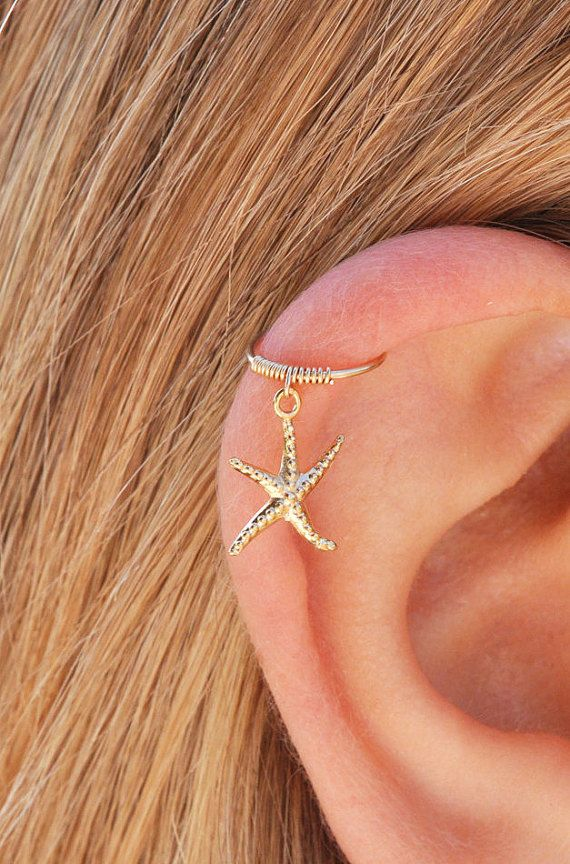 Starfish cartilage earring gold cartilage hoop tiny by Benittamoko