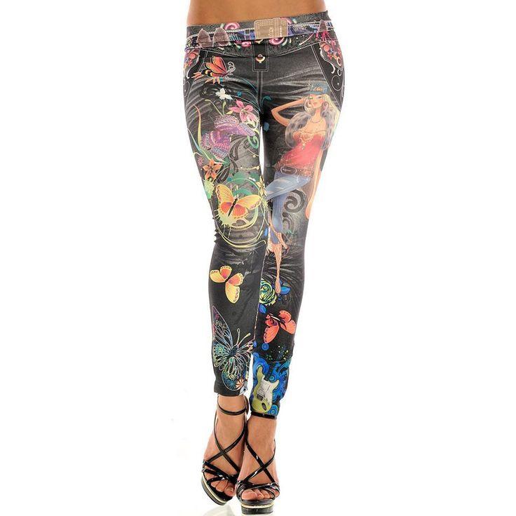 KISSyuer Jeggings Jeans Women Legging Jean Blue Black Jeggins Butterfly Flowers fashion girl Denim Skinny Leggings Pants KL0064