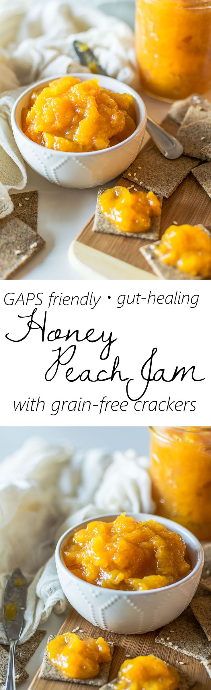 Refined sugar free jam with just peaches, honey, and gut-healing gelatin. Easy to make and delicious!