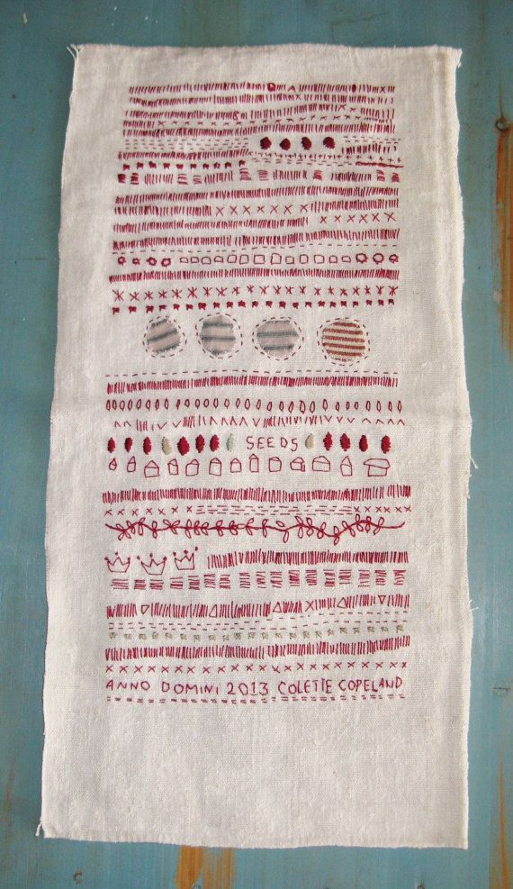 Red thread, Hand embroidery on antique French handspun linen, Sampler, one of a kind