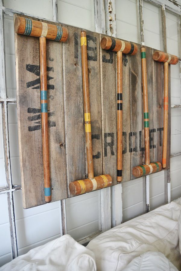 Learn how to make this DIY croquet mallet art that is simple & a great way to display your croquet set!