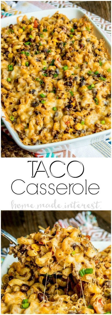 Taco Macaroni Casserole - This taco macaroni casserole is an easy taco bake recipe that makes a great weeknight dinner. Full of all of your favorite tex-mex flavors this is a taco casserole recipe that puts a fun spin on taco night! Turn your typical macaroni and cheese recipe into a spicy southwest comfort food with this easy taco macaroni casserole. via @hmiblog