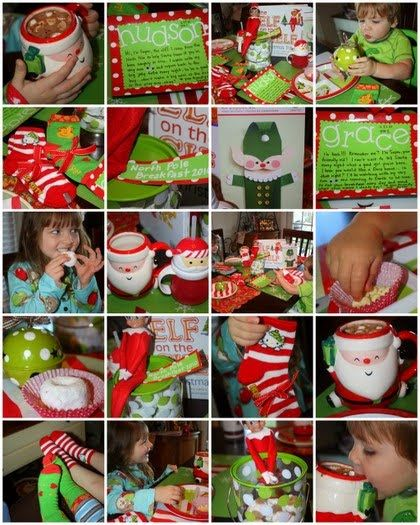 """oh my goodness, this is pure genious!!  North Pole Breakfast - 1st morning the """"elf"""" shows up. Cute IdeaChristmas Elf, Seasons, Cute Ideas, Shelf Breakfast, Shelves, Elf On Shelf, Christmas Traditional, Shelf Ideas, North Pole Breakfast Ideas"""