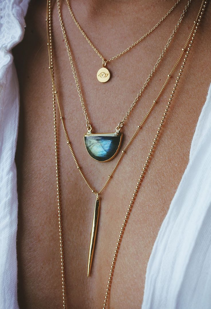 "The color & blue flash in our labradorite half moon necklace is spectacular! It's amazing in person, specially when it hits the light. The aprox. 24mm pendant is suspended from an 18"" inch long 14k go"