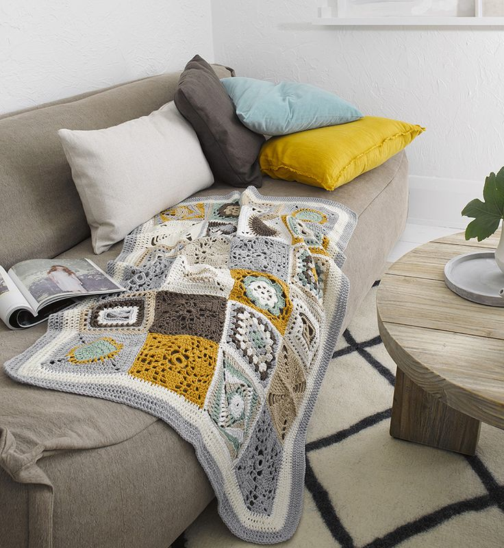 Crochet patchwork throw by Patons Australia