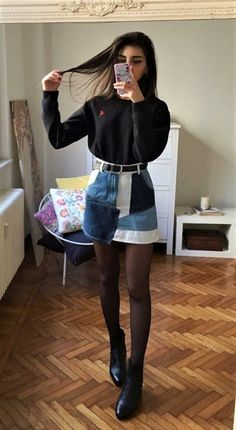 Black long sleeve top, high waisted skirt, tights & boots by mari_malibu