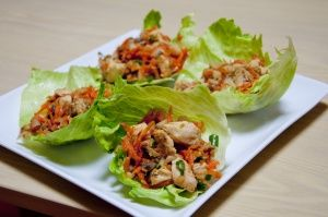 Thai-Style Chicken Lettuce Wraps with Spicy Peanut Sauce