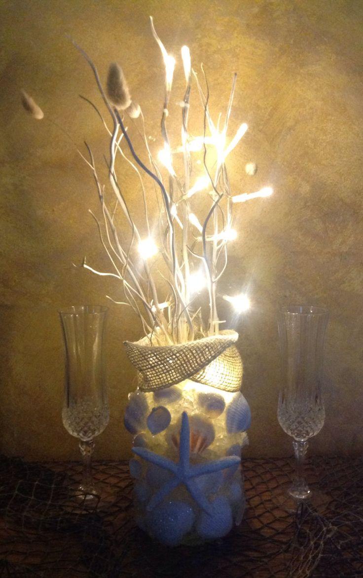 Decor nautical shell mirrors w sea glass starfish amp pearls blue - Seashell Centerpiece Beach Wedding Decor Nautical Reception Rehearsal Dinner