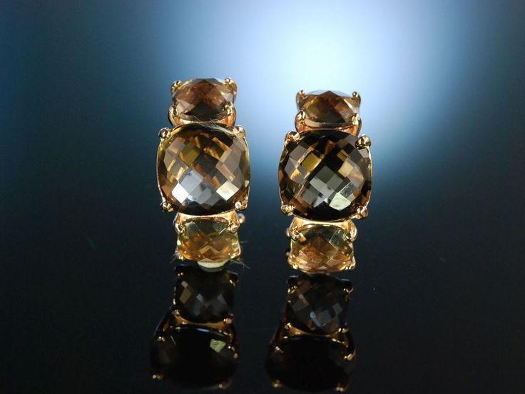 Smoky quarz earrings from Italy! Elegante Ohrringe Silber 925 rosé vergoldet, funkelnder Rauch Quarz, schöner Edelstein Schmuck bei Die Halsbandaffaire