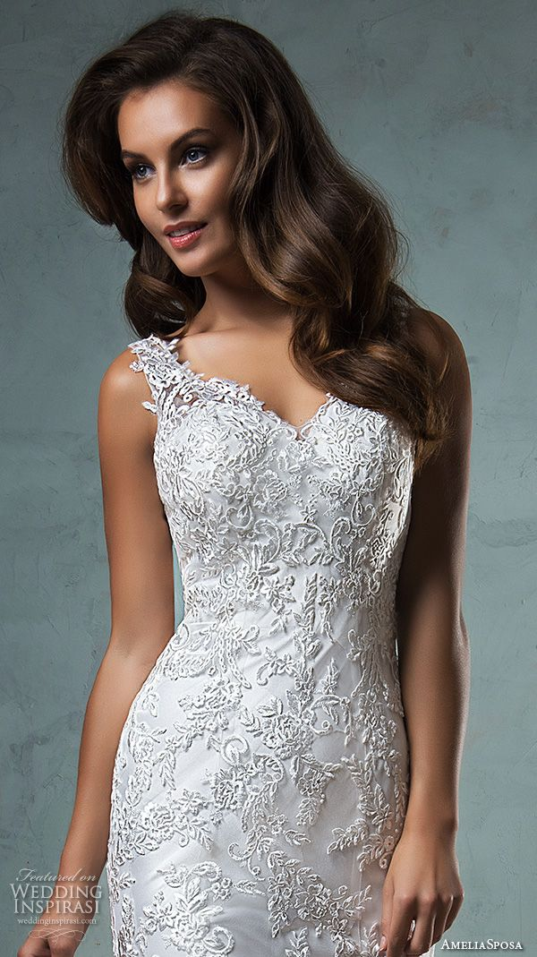 amelia sposa 2016 wedding dresses lace strap v neckline embroidery satin beautiful trumpet fit to flare mermaid wedding dress adelina front closeup