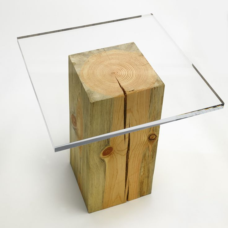 Klee Table: Blue-stained pine with clear acrylic top