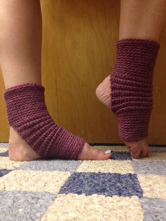 Yoga Socks in Acrylic Wool Blend in Deep Rose by CarrotCreations, $12.00