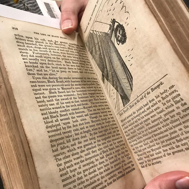 "When you find an illustration of Blackbeard's head hanging from a bowsprit, and your mascot is directly connected to Edward Teach... you share it. ""The pirates own book..."" Joyner Library's Rare Book Collection. #joynerlibrary #rarebook #pirate #blackbeard"