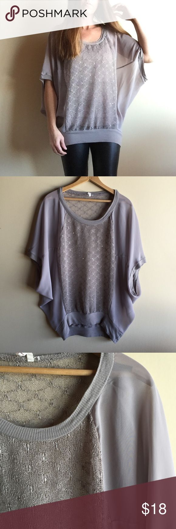 "Willow and Clay batwing sheer top Batwing top with knit portion that has a subtle sparkle. Taupe grey color. Great condition! I am 5'7"" for fit reference. Willow & Clay Tops"