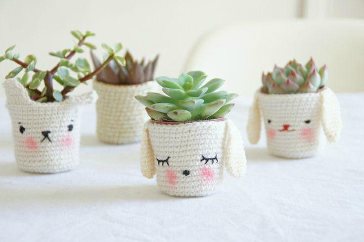 adorable crochet plant pot covers