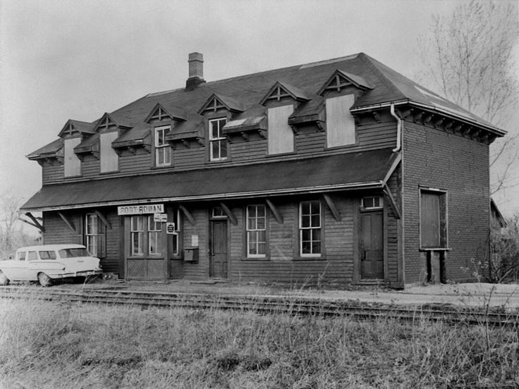 Canadian National Railroad station, rail line abandoned and removed in 1965, circa 1960.