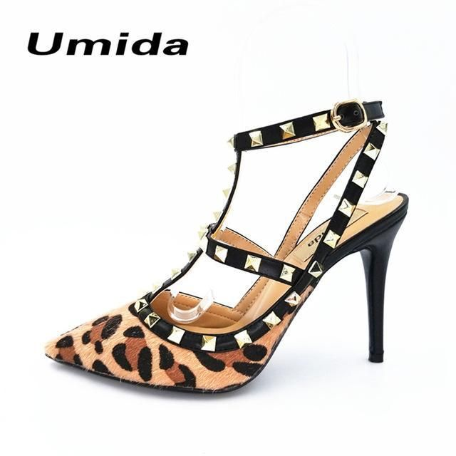 Umida Brand Sexy Leopard Pattern Women Pumps Plus Size 34-43 High Heels Shoes Party Women Shoes Real Leather Shoes Ladies Pumps