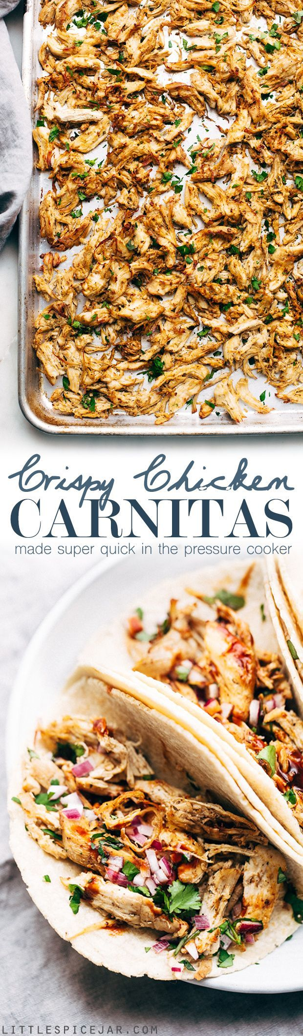 Pressure Cooker Crispy Chicken Carnitas: the easiest way to make carnitas - this instant pot recipe makes the most delicious carnitas! Top with lots of cilantro, onions, sautéed cabbage, and homemade chipotle sauce | Littlespicejar.com