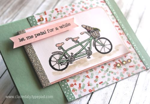 Pedal Pushers stamp set by Stampin' Up!. This is a great set with lots of 'bits' to put in the basket. Available until March 31st 2016 - FREE with a $90 order in my online store. The metallic tape is awesome too!