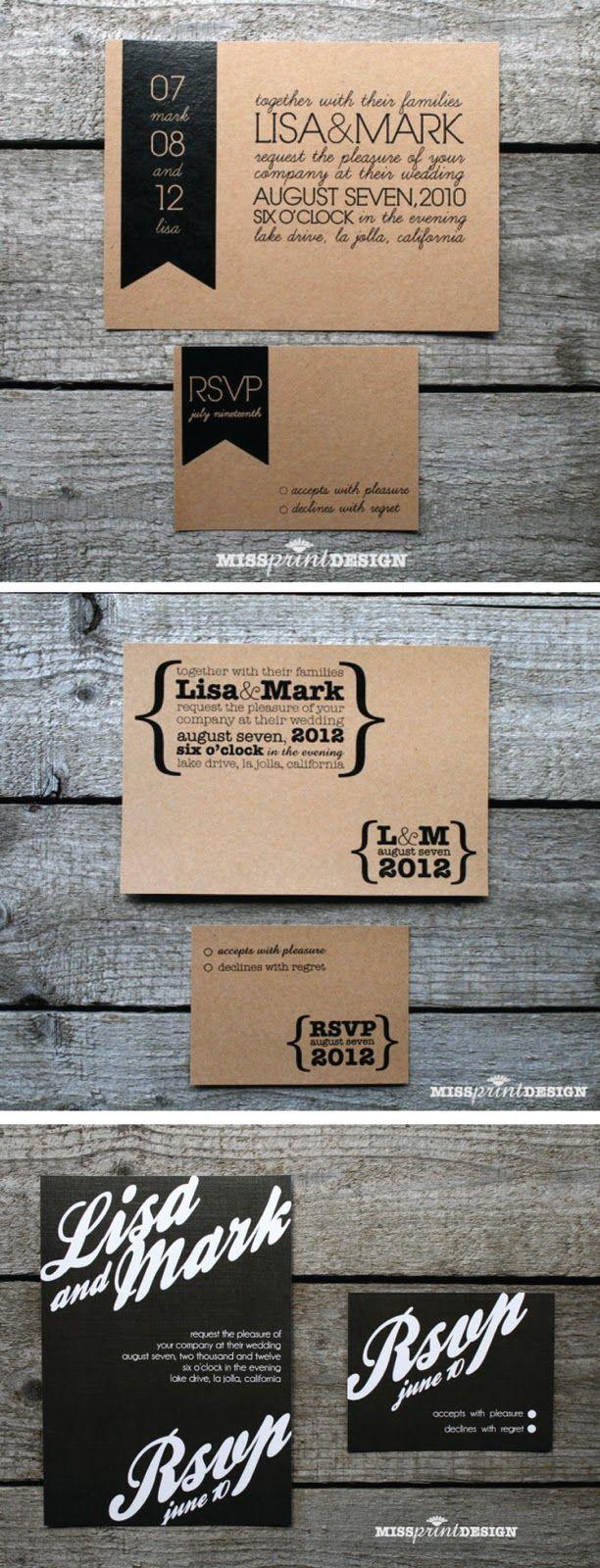 Invitación de boda en craft y tipografía en negro