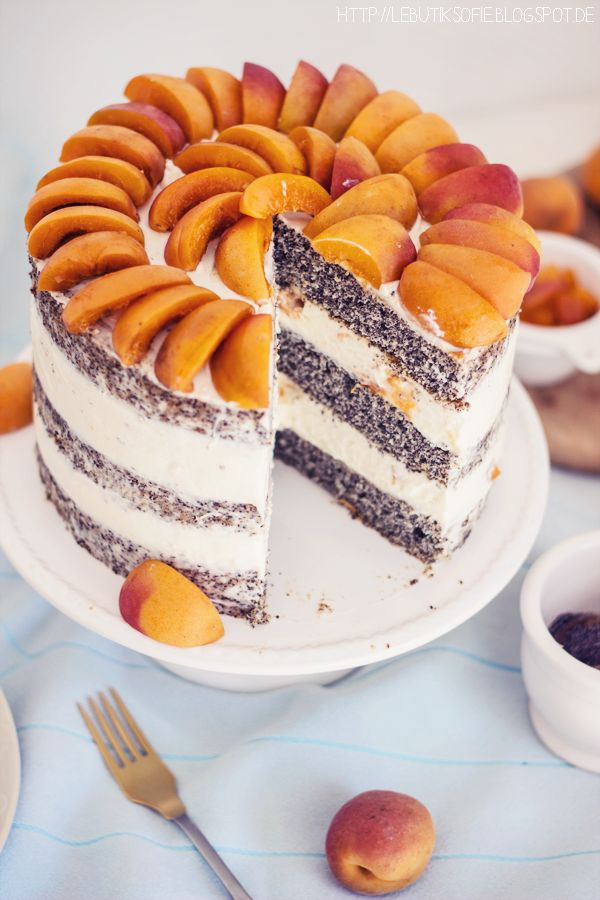 Apricot poppy cake with delicious cream cheese
