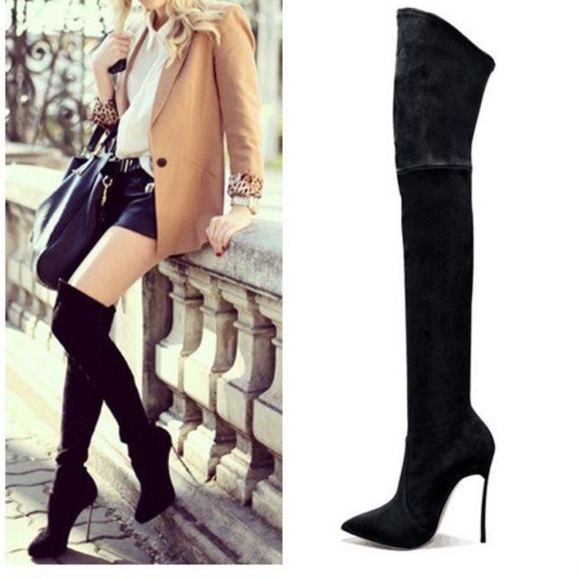 2016 Sonbahar Kış Kadın Çizmeler Streç Faux Süet Ince Uyluk Yüksek çizmeler Moda Diz Çizmeler üzerinde Seksi Yüksek Topuklar Ayakkabı Kadın