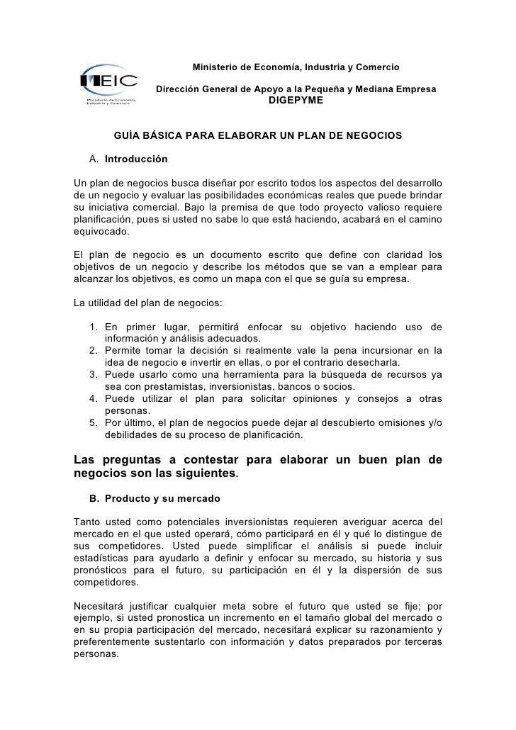 Ministerio de Economía, Industria y Comercio                    Dirección General de Apoyo a la Pequeña y Mediana Empresa ...