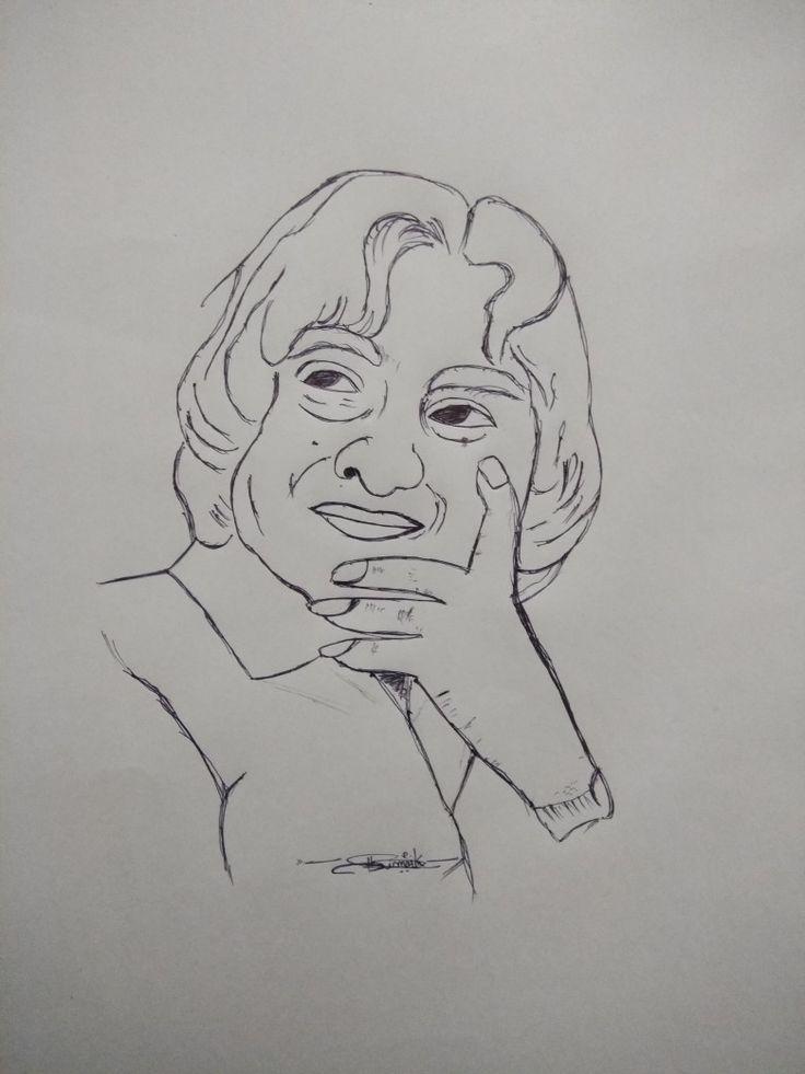 Dr.APJ Abdul kalam sketch.   Indian art paintings, Pencil ...
