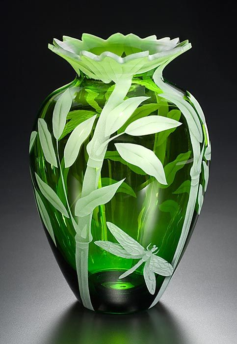 Bamboo and Dragonfly art glass by Cynthia Myers