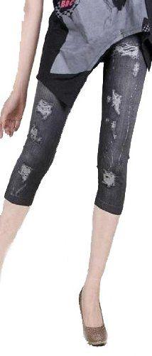 Amazon.co.jp: FrontStage ファッションショップ・スキニーデニム風・ストレッチ素材・ジーンズ風プリントレギンスパンツ (ダメージ柄黒): 服&ファッション小物通販