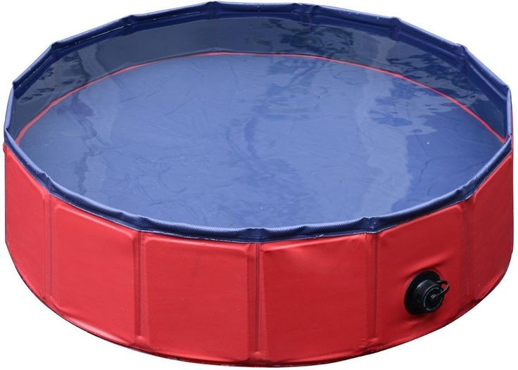"""Pet Swimming Pool 8"""" x 32"""" Above Ground Small Dog Foldable PVC Red and Blue #Unbranded"""