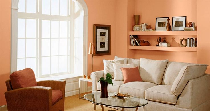 Best Small Living Room With Glass Table White Sofa Peach Walls 400 x 300