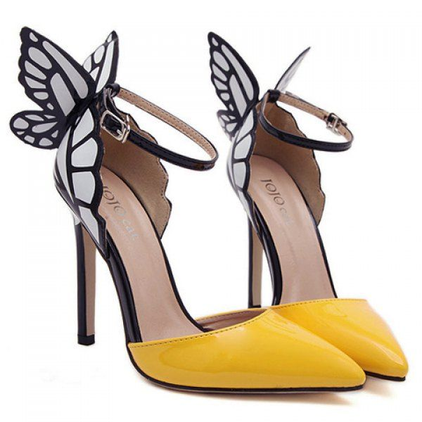 Fashionable Butterfly Wings and Color Block Design Women's Pumps $38 #shoes #heels #pumps #fashion #accessories #style