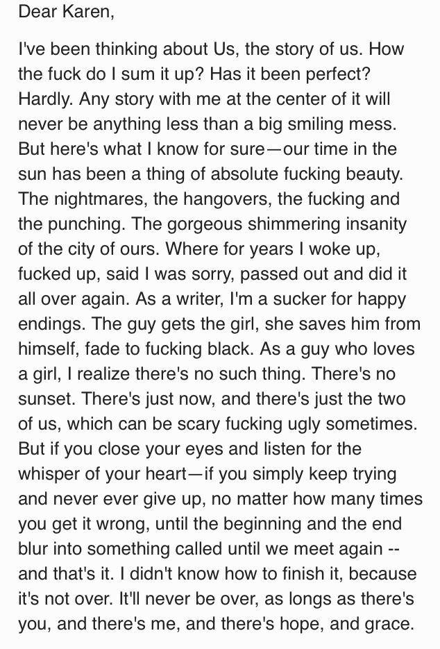 Hank's love letter to Karen- Series Finale Californication.