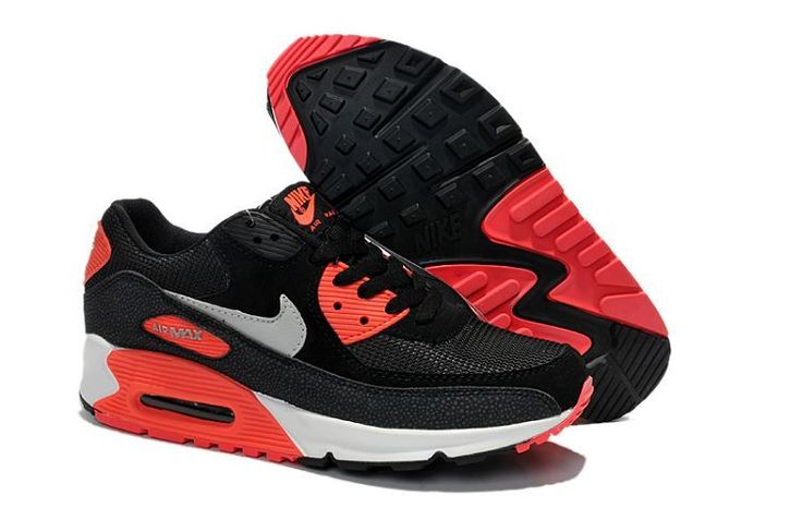 Nike air max 90 black gray red white Women's shoes - Click Image to Close
