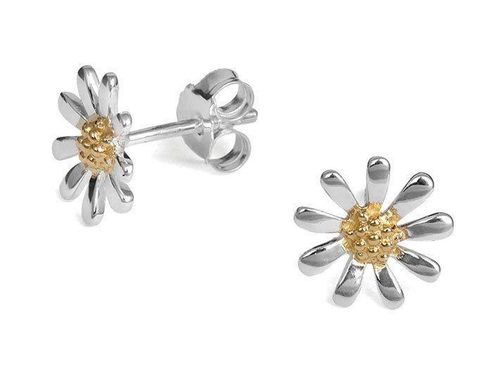 Silver Earrings - Daisy Chain Studs - Medium