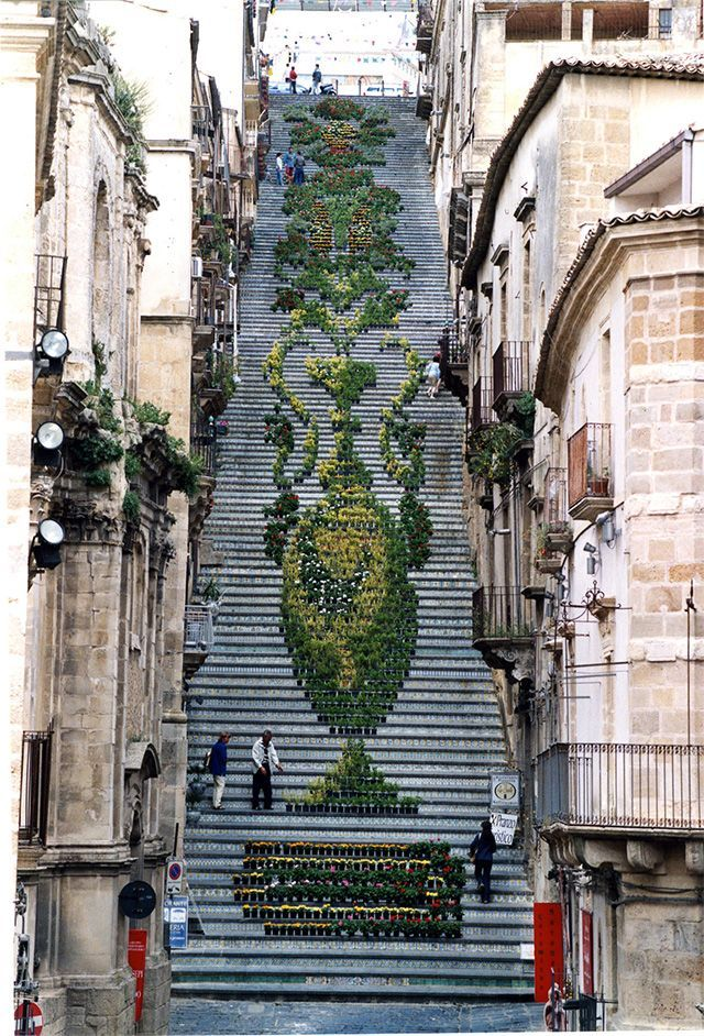 A Historic Staircase in Caltagirone, Sicily Used as a Backdrop for Light and Flower Festivals