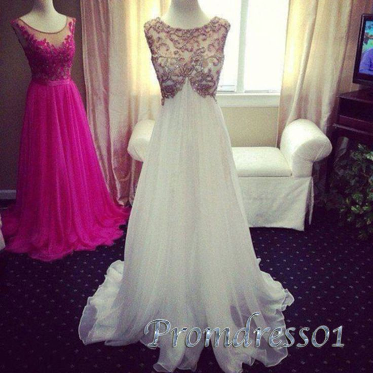 2015 prom dresses by #promdress01, elegant white open back round-neck chiffon long formal prom dress for teens, evening dress, ball gown, bridesmaid dress #promdress #wedding