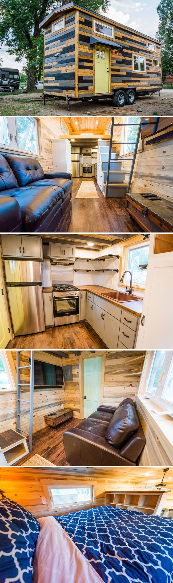 The unique exterior of this custom 24' tiny house mixes three types of tongue-and-groove cedar: natural oiled, stained, and shou sugi ban.