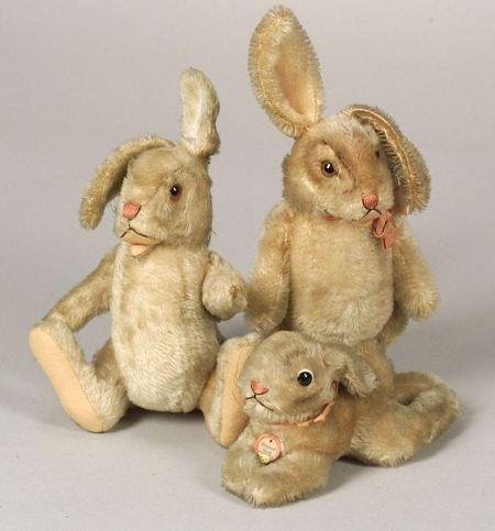 Vintage Steiff rabbits.