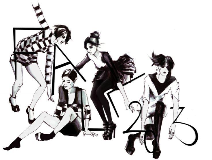 #FashionIllustration #blackandwhite #catwalk