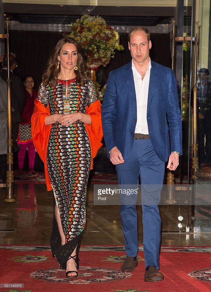 Catherine, Duchess of Cambridge and Prince William, Duke of Cambridge leave the Taj Tashi hotel to attend a dinner with King Jigme Khesar Namgyel Wangchuck and Queen Jetsun Pema on day five of the royal tour to India and Bhutan on April 14, 2015 in Thimphu, Bhutan. (Photo by Dominic Lipinski - WPA Pool/Getty Images)