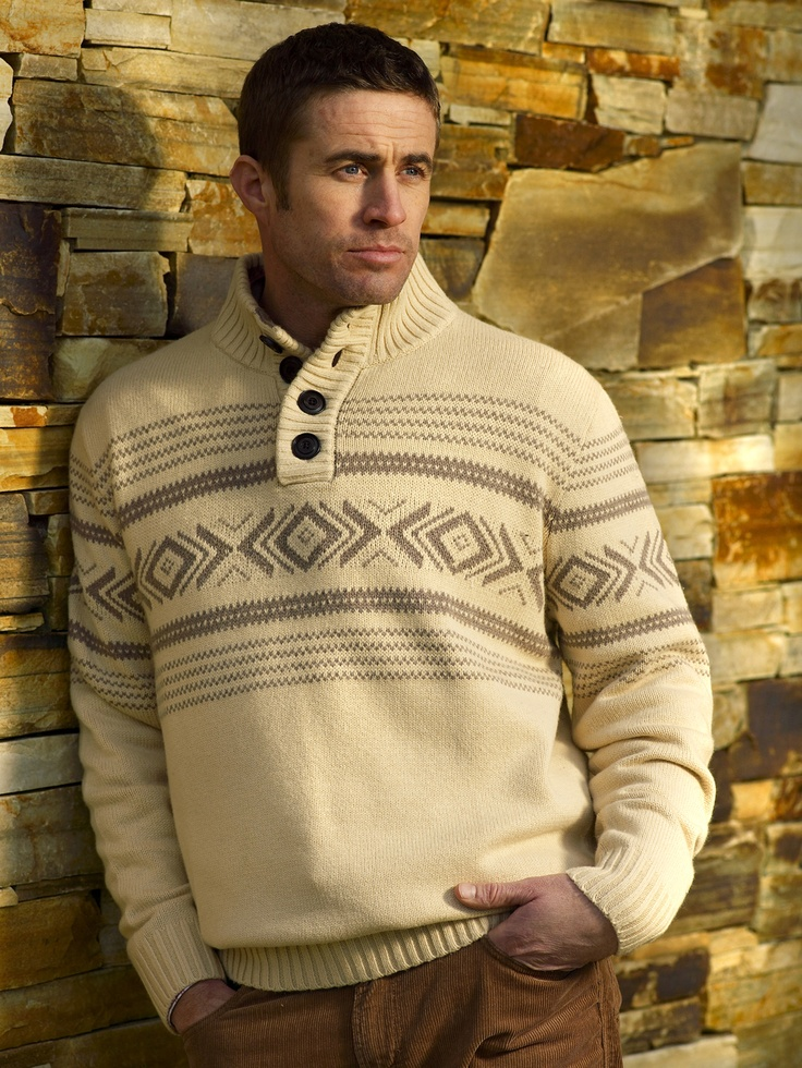 $120 Kiki- our lovely men's casual knit sweater with four large buttons on the collar and inca print detail