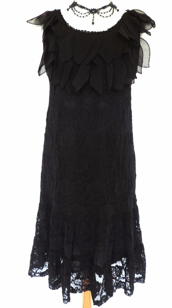 A fabulous black rose lace sleeveless dress by. black chiffon petals to the front neckline and. designed in a pull-on style in sheer stretch lace over a black soft. two strips of black lace braiding around the. | eBay!
