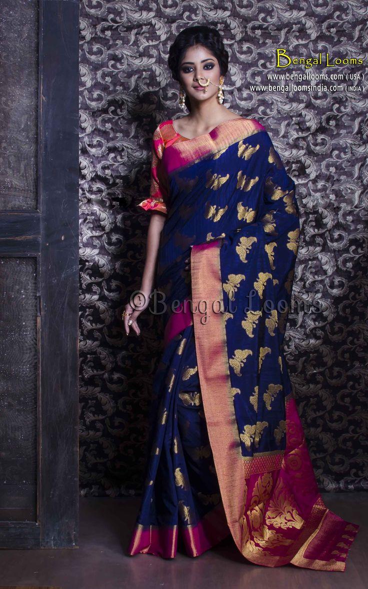 Art Silk Banarasi Saree in Navy Blue and Rani