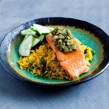 Salmon with Asian Pesto
