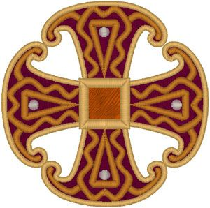 Canterbury Cross Embroidery Design. In 1867 a Saxon brooch dating from around 850 was found in Canterbury, England. It featured a small square in the center from which extended four arms that were wider on the outside, forming a triangular shape, a reference to the Holy Trinity. The Canterbury Cross was designed from that ancient brooch.