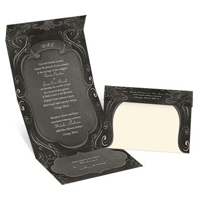 A classic flourish frame lends vintage beauty to this ecru chalkboard seal and send wedding invitation. Choose any two fonts for your wording. The invitation features a perforated response card printed with your return address on one side and your response wording on the other. Guests fill out the card, remove it and return it to you. The price includes printing your wording inside and your return address on the outside flap. Clear round seals are included.