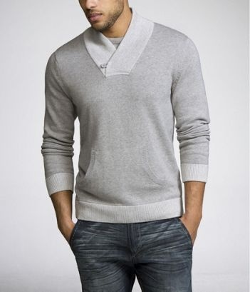 EXPRESS MEN CONTRAST SHAWL-COLLAR SWEATER