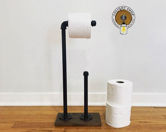 Whitewash Industrial Toilet Paper Storage Stand, Wood Holder, Toilet Paper Holder, Floor Stand Holder, Bathroom Decor, Beach TP Holder Idea